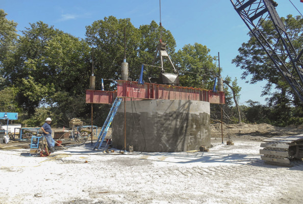 The concrete caisson of Lincoln Water System's new horizontal collector well being hydraulically pushed into the ground. (Photo courtesy Lincoln Water System)