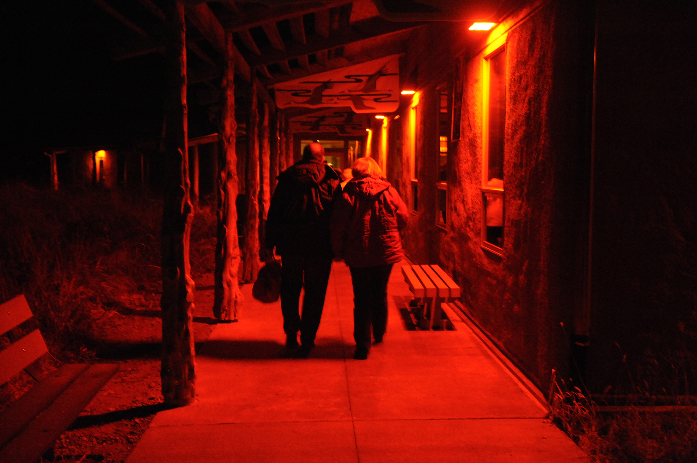 Low glow red lights brighten the path for early morning crane watchers at Audubon's Rowe Sanctuary. (Michael Forsberg)
