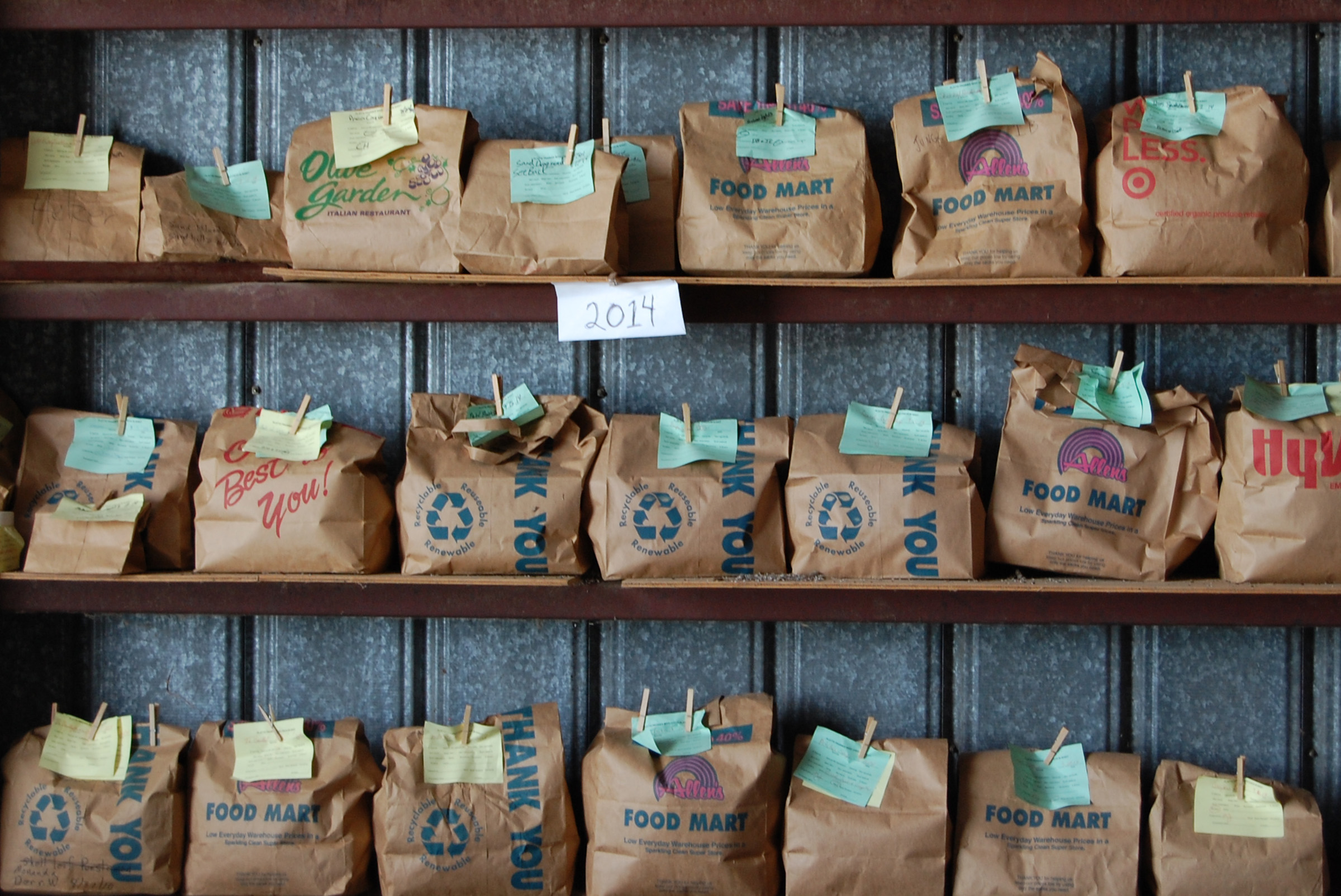 Bags of seeds await mixing in the barn. (Ariana Brocious)