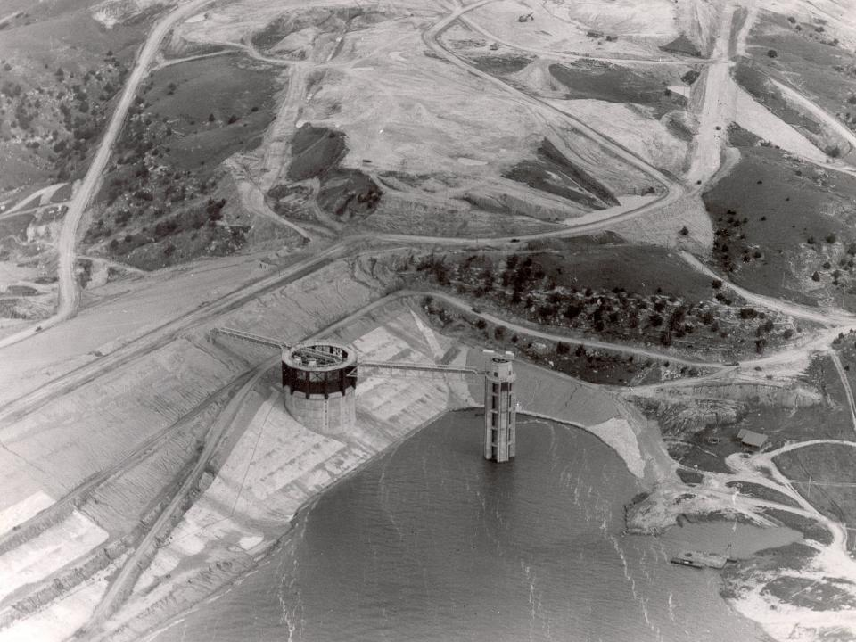 An aerial view of Lake McConaughy (to the right) filling up behind Kingsley Dam.