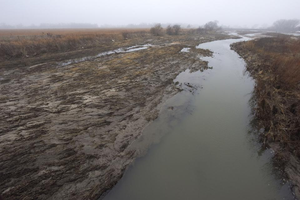 A scoured section of the central Platte River channel on Crane Trust property near Alda, Neb. (Mariah Lundgren)