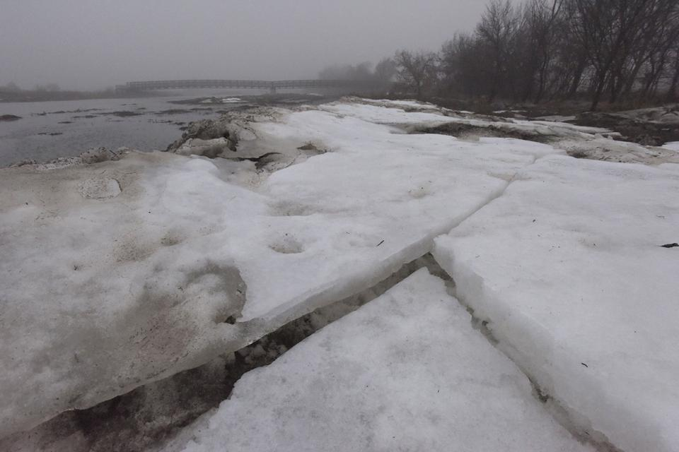 Sheets of broken ice remain near the river's edge a few days after most flooding receded on the central Platte. (Mariah Lundgren)