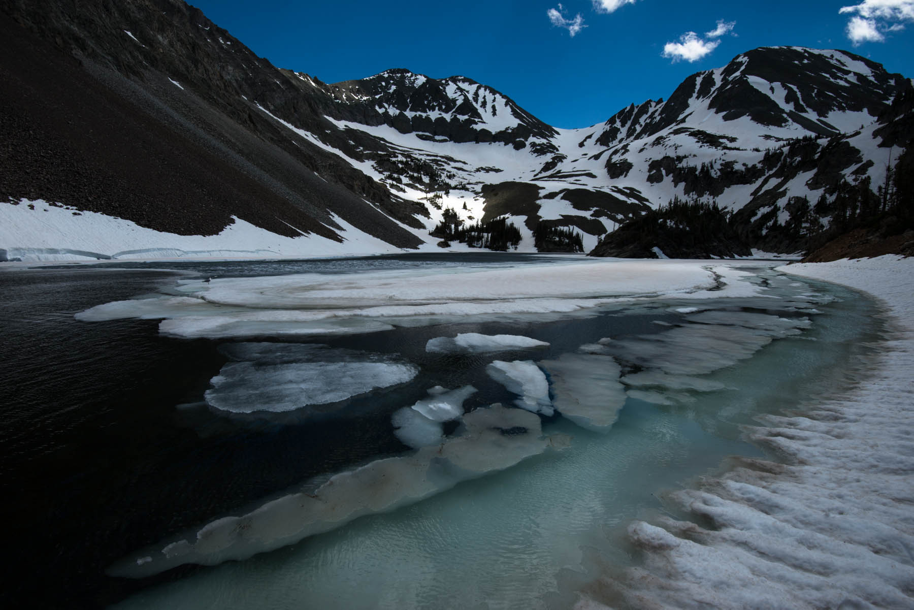 Ice out at Lake Agnes in Colorado's Never Summer Range high in the North Platte watershed.