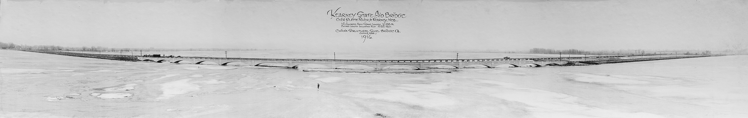 Panoramic view of the Kearney Bridge in 1916. Built with 14 concrete arch spans to a total length of 4188 ft. (Buffalo County Historical Society)