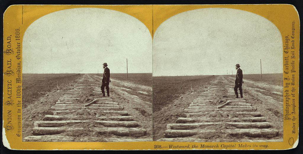 Thomas Durant, vice-president of Union Pacific Railroad, standing on the tracks. (John Carbutt, Library of Congress)