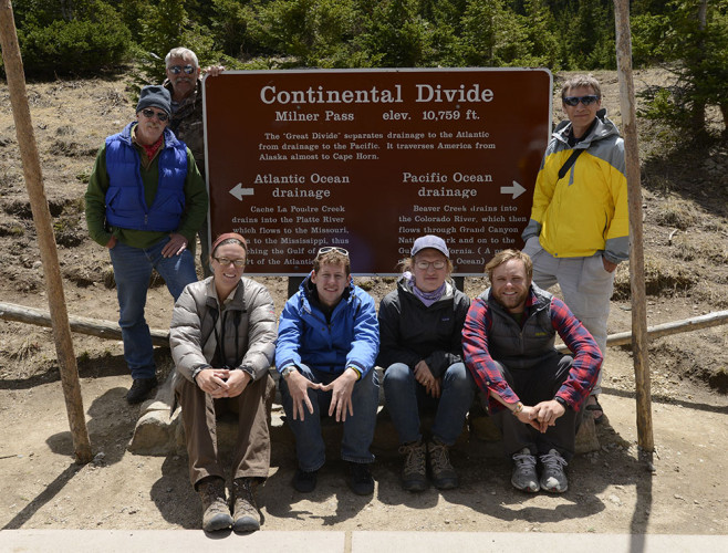 Most of the team poses at the Continental Divide in 2013. Pictured (l-r): Michael Farrell, Jeff Dale, Emma Brinley Buckley, Ben Kreimer, Steven Speicher, Peter Stegen, Michael Forsberg.