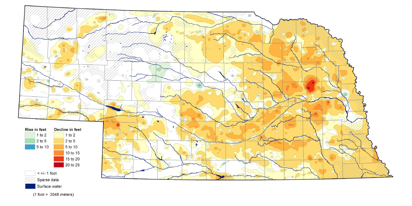 Groundwater Level Changes in Nebraska - Spring 2012 to Spring 2013 (U.S. Geological Survey, Nebraska Water Science Center; U.S. Bureau of Reclamation, Kansas-Nebraska Area Office; Nebraska Natural Resources Districts; Central Nebraska Public Power and Irrigation District; Conservation and Survey Division, School of Natural Resources, University of Nebraska–Lincoln)