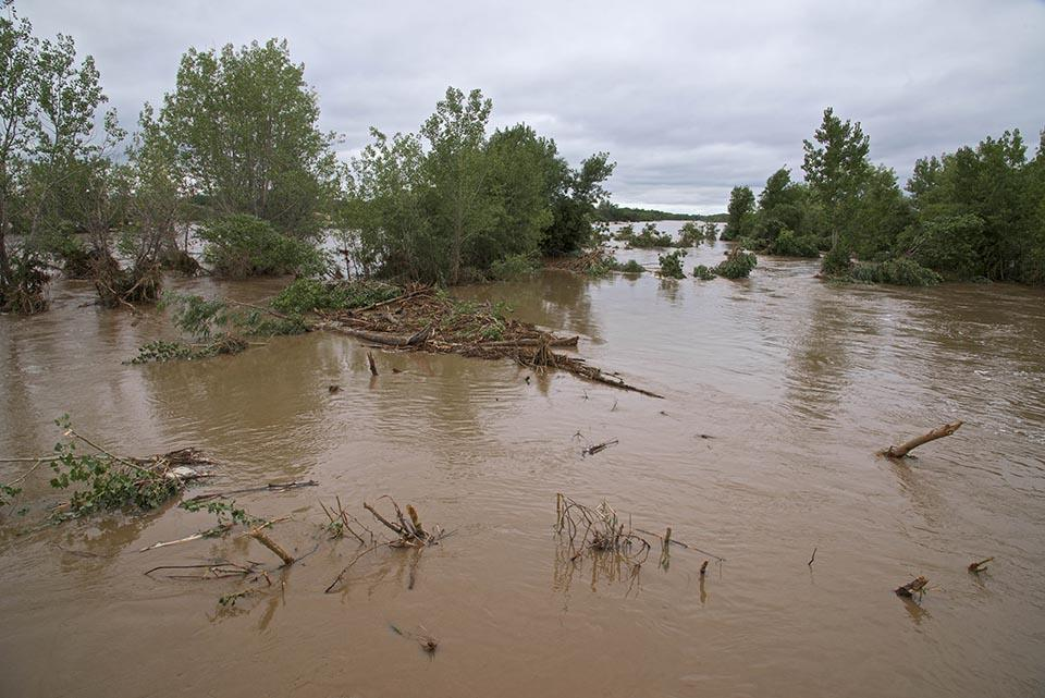 The South Platte River left its banks near Fort Morgan, Colo., on September 16th, 2013 after record setting rainfall fell throughout the Front Range. (Dave Showalter)
