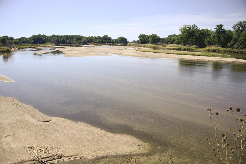 The South Platte River was predicted to rise 13 feet near North Platte, Neb. (Peter Stegen)