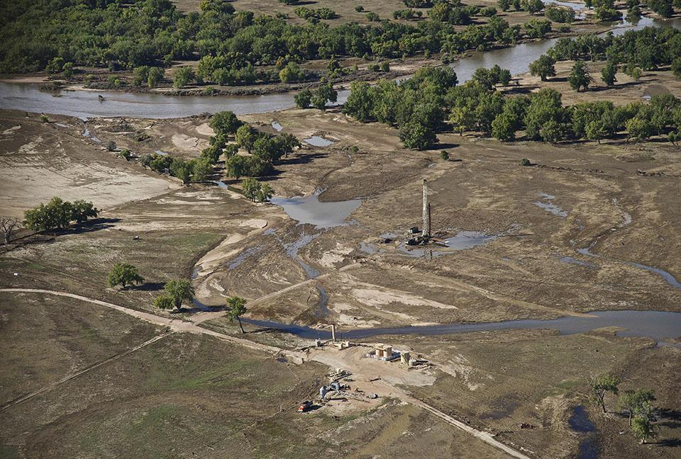 More than 1,900 oil wells in the South Platte Basin were shut down as floodwaters rose. There were at least eleven oil spills in the South Platte River, a critical freshwater source for the Ogallala Aquifer and Great Plains agriculture. (Dave Showalter)