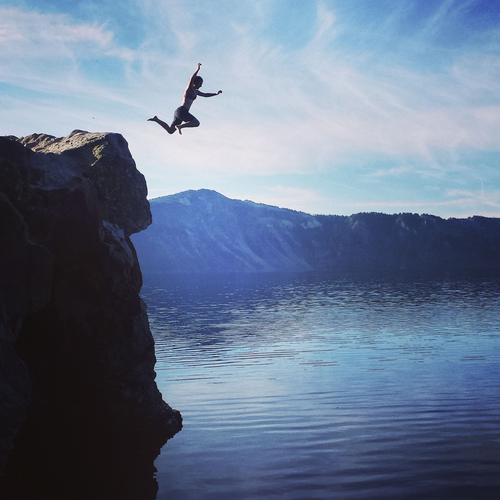 Taking the plunge into the chilly waters of Crater Lake, Ore. (Cristina Woodworth)