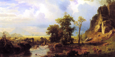 In North Fork of the Platte River, you can see Albert Bierstadt's inventive and evocative use of light. (WikiArt.org)