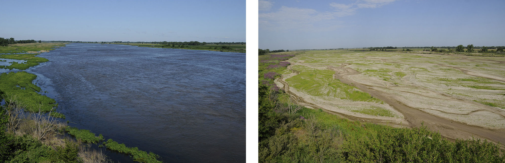 (left) A lot of rain created high waters in 2011 on the Platte River near Rowe Sanctuary, 20 miles west of Kearney. (right) The drought of 2012 on the Platte River near Rowe Sanctuary, 20 miles west of Kearney.(Michael Forsberg, Platte Basin Timelapse)