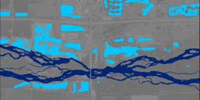 Digitized borrow pits and river channels along the Platte River south of Kearney, NE, in 2016.